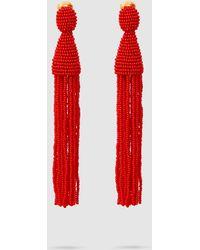 Oscar de la Renta - Beaded Tasselled Earrings - Lyst