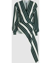 Oscar de la Renta - Striped Asymmetric Blouse - Lyst
