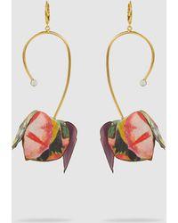 Marni - Fabric Flower Drop Earrings - Lyst