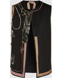 N°21 - Raquel Embellished Embroidered Gilet - Lyst