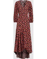 Ganni - Printed Crêpe Wrap Dress - Lyst