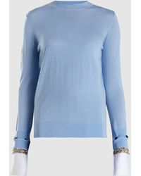 Adam Lippes - Merino Wool Jumper With Detachable Crystal-embroidered Cuffs - Lyst