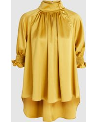 Adam Lippes - Smocked Sleeves Gathered Silk Blouse - Lyst