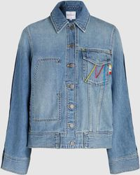 Mira Mikati - Late Embroidered Denim Jacket - Lyst