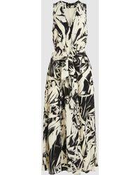 Proenza Schouler - Frayed Printed Silk Midi Dress - Lyst