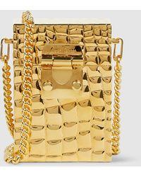 Mark Cross - Nicole Crocodile-effect Gold-plated Brass Bag - Lyst