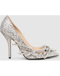 N°21 - Bow-embellished Glittered Pumps - Lyst
