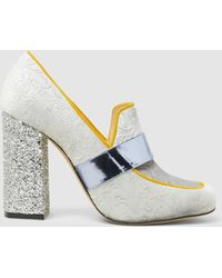 Mary Katrantzou - Athos Velvet And Glitter Loafer Heels - Lyst