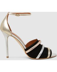 Malone Souliers - Zola Metallic Leather And Suede Sandals - Lyst
