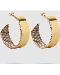 Erickson Beamon - Crystal & Gold-plated Hoop Earrings - Lyst