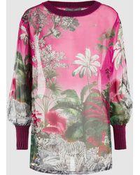 Alberta Ferretti - Printed Silk-chiffon Top - Lyst