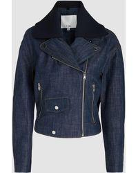 Tibi - Cropped Denim Moto Jacket - Lyst