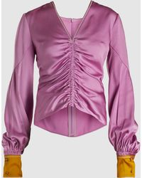 Peter Pilotto - Ruched Long Sleeve Silk Blouse - Lyst