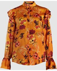 Mother Of Pearl - Floral Print Ruffle Detail Blouse - Lyst