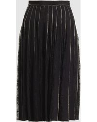 Adam Lippes - Crystal-embroidered And Lace-inset Silk Crepe Skirt - Lyst