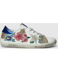 Golden Goose Deluxe Brand - Floral-embroidered Superstar Leather Sneakers - Lyst