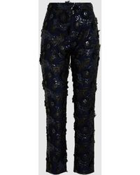 Huishan Zhang - Ivy Sequinned Crepe Cropped Trousers - Lyst