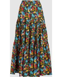 LaDoubleJ Floral Print Tiered Cotton Maxi Skirt