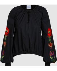 Stella Jean - Poplin Embroidered Bell Sleeve Shirt - Lyst