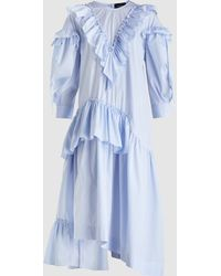 Simone Rocha - Ruffled Striped Cotton Midi Dress - Lyst