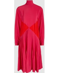 Cedric Charlier - Turtleneck Colour Block Pleated Dress - Lyst