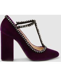 N°21 - Embellished Velvet Mary Jane Court Shoes - Lyst