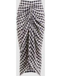 Joseph   Roman Ruched Gingham Midi Skirt   Lyst
