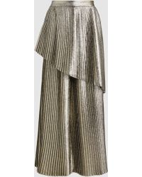 SemSem - Metallic Pleated Wide-leg Trousers - Lyst