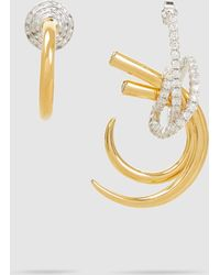 Ryan Storer - Mismatched Crystal-embellished Gold-tone Earrings - Lyst