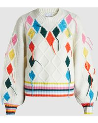 Mira Mikati - Embroidered Cable-knit Jumper - Lyst