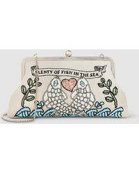 Sarah's Bag - Pisces Classic Embellished Canvas Clutch - Lyst