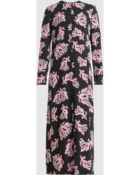 Marni - Coral Print Long Sleeve Crepe Dress - Lyst
