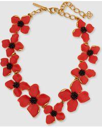 Oscar de la Renta - Painted Flower Gold-tone Necklace - Lyst