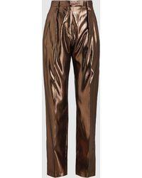 Alberta Ferretti - Silk Lamé Straight Leg Trousers - Lyst