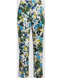 Erdem - Gianna Printed Crepe Cropped Trousers - Lyst