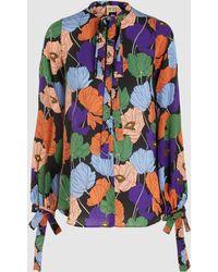 N°21 - Floral Print Silk Tie-neck Blouse - Lyst