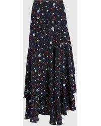 Ganni - Nolana Silk Printed Wrap Skirt - Lyst