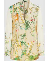 Alberta Ferretti - Printed Silk-crepe Safari Jacket - Lyst