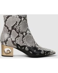 Coliac - Python-effect Leather Block Heel Boots - Lyst