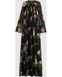 Giambattista Valli - Floral Long Sleeve Silk Maxi Dress - Lyst