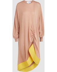 Esteban Cortazar - Long Sleeve Jumper Dress With Ruffle Trim - Lyst