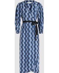 Cefinn - Geo-print Twill Wrap Midi Dress - Lyst