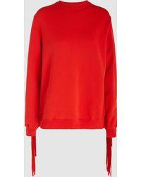 MSGM - Fringe-trimmed Cotton Sweatshirt - Lyst
