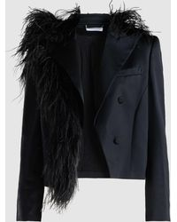 Magda Butrym - Lubeck Ostrich Feather Silk-blend Tuxedo Blazer - Lyst
