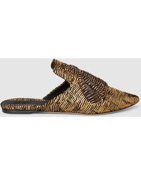 Sanayi 313 - Ragno Embellished Metallic Woven Slippers - Lyst