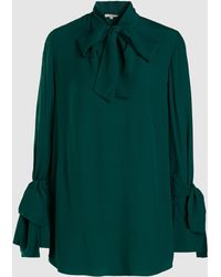 LAYEUR - Baxter Tie Neck Belted Crepe Shirt - Lyst