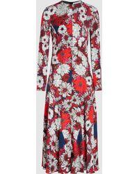 Cedric Charlier - Floral Print Midi Dress - Lyst