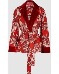 F.R.S For Restless Sleepers - Bird Velvet-trimmed Printed Silk Jacket - Lyst