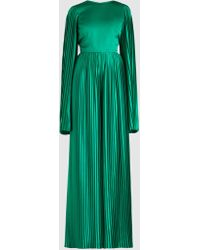 SemSem - Pleated Wide-leg Long-sleeve Silk Jumpsuit - Lyst