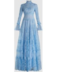 Costarellos - Chantilly Lace Long-sleeve Gown - Lyst